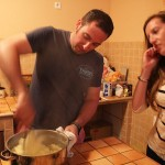Mashing potatoes for gnocchi cooking lesson