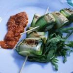 Grilled zucchinis stuffed with gorgonzola